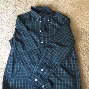 Green and blue plaid button up